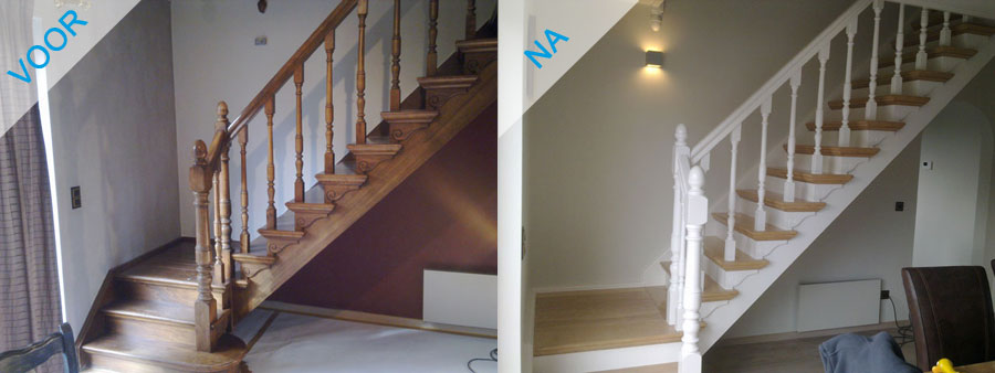 Schilderen van trappen steven elst schilderwerken essen - Schilderen muur trap ...